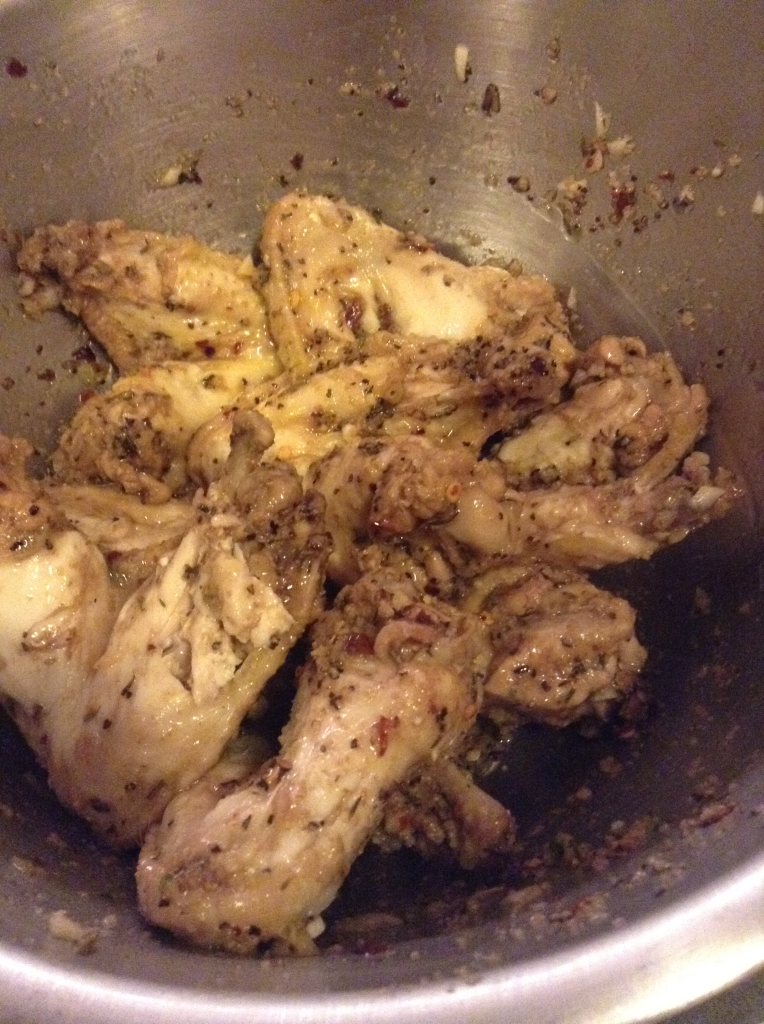 Garlic Parmesan Wings Coated in Garlic Mixture