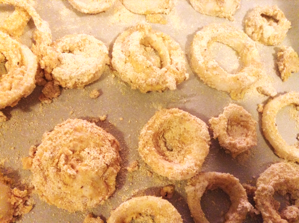 Baked Onion Rings before baking close up