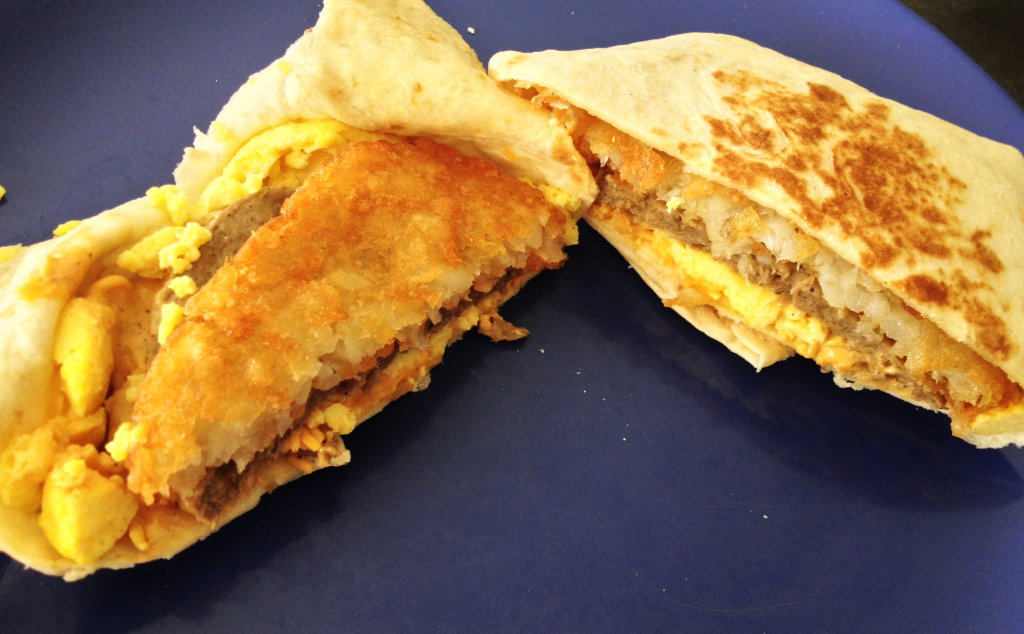 Taco Bell Breakfast A.M. Crunchwrap with Sausage inside