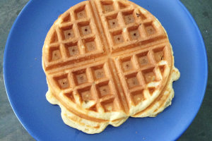 Homemade Belgian Waffle plated
